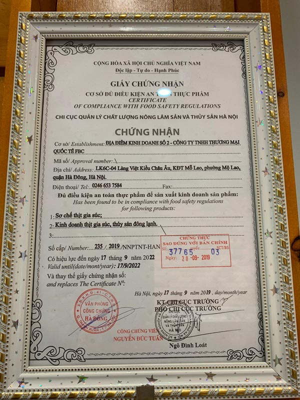 Giấy vệ sinh an toàn thực phẩm cơ sở Gofood Hà Đông